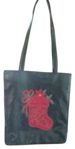 Liz Claiborne Tote in Green With Red Stocking