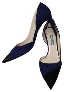 Prada New Black Patent Leather and Navy Suede Pumps