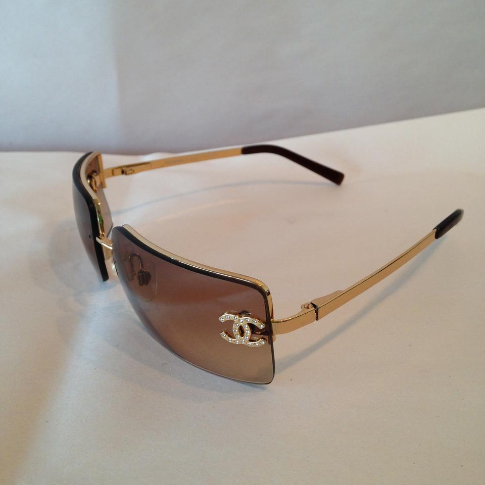1259dcb17a5 Chanel CHANEL Rimless Gold Crystal CC Logo Sunglasses Image 5. 123456