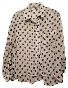 Forever 21 Polka Dot Sheer Top White