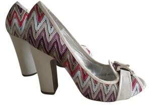 Naughty Monkey Missoni Fabric Open Toe Cream and Multi Color Pumps
