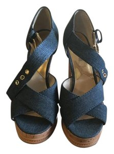 Michael Kors High Heel Indigo Sold Out Denim Sandals