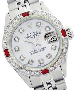 Rolex LADIES ROLEX 6917 DATEJUST SS MOTHER OF PEARL DIAMOND & RUBY WATCH