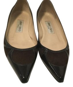 Jimmy Choo All Geometric Italian Brown suede and patent leather pointed E36 Flats