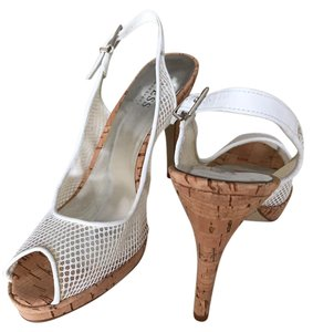 Guess By Marciano Cork Slingback Mesh Open Toe White Platforms