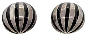 Tiffany & Co. Tiffany & Co Silver Black Stripe Enamel Shell Dome Circle Pierced Earrings Rare