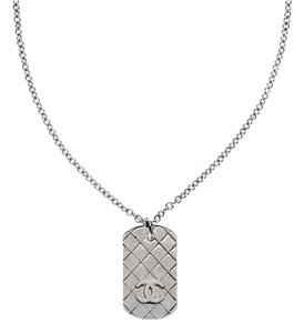 Chanel Chanel Silver Dog Tag Necklace