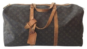Louis Vuitton Leather Sac Souple Boston Duffle Travel Monogram Travel Bag