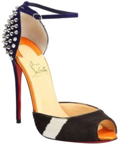Christian Louboutin Spike Stiletto Multi-color Edgy Scuffs Blue, Orange, Silver, Brown, White Sandals