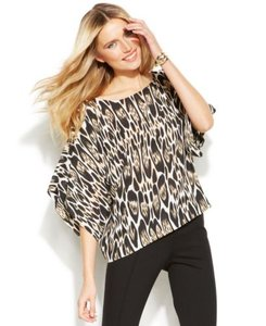 INC International Concepts Leopard Batwing Dolman Chiffon Chic Top Black, Brown