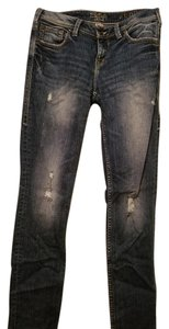Silver Jeans Co. Distressed Straight Leg Jeans-Medium Wash