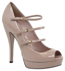 Gucci Patent Leather Pump 309983 Nude Platforms