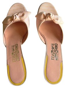 Salvatore Ferragamo Pink and Yellow Mules