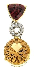 Other WOW-15 cts golden beryl & 3 3/4 cts tourmaline &1/5 ct diamond pendant