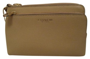 Coach Coach Madison Double Zip Saffiano Wristlet Tan Gold 51441
