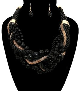 Black Pearl Wrapped Necklace Set