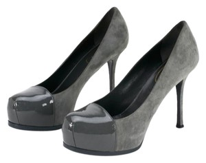 Saint Laurent Suede Patent Leather Grey Platforms
