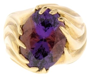 Other STUNNING - 14 karat yellow gold oval amethyst ring
