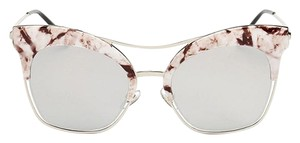 Marble Silver Mirror Lens Sunglasses