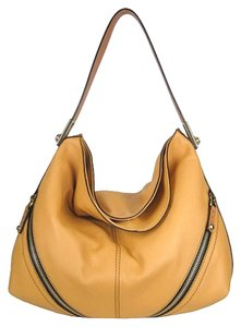 orYANY Gold Pebble Leather Zipper Hobo Bag