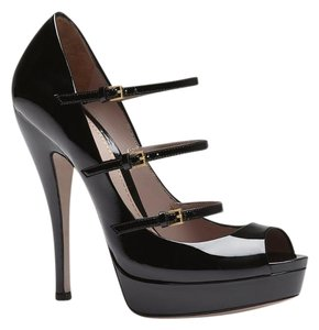 Gucci Patent Leather Pump Platform Black Platforms