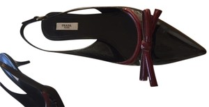 Prada Patent Leather Maroon Black with Burgundy Trim Pumps