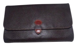 Valentino Design Shades of Brown V logo print in embossed leather Clutch