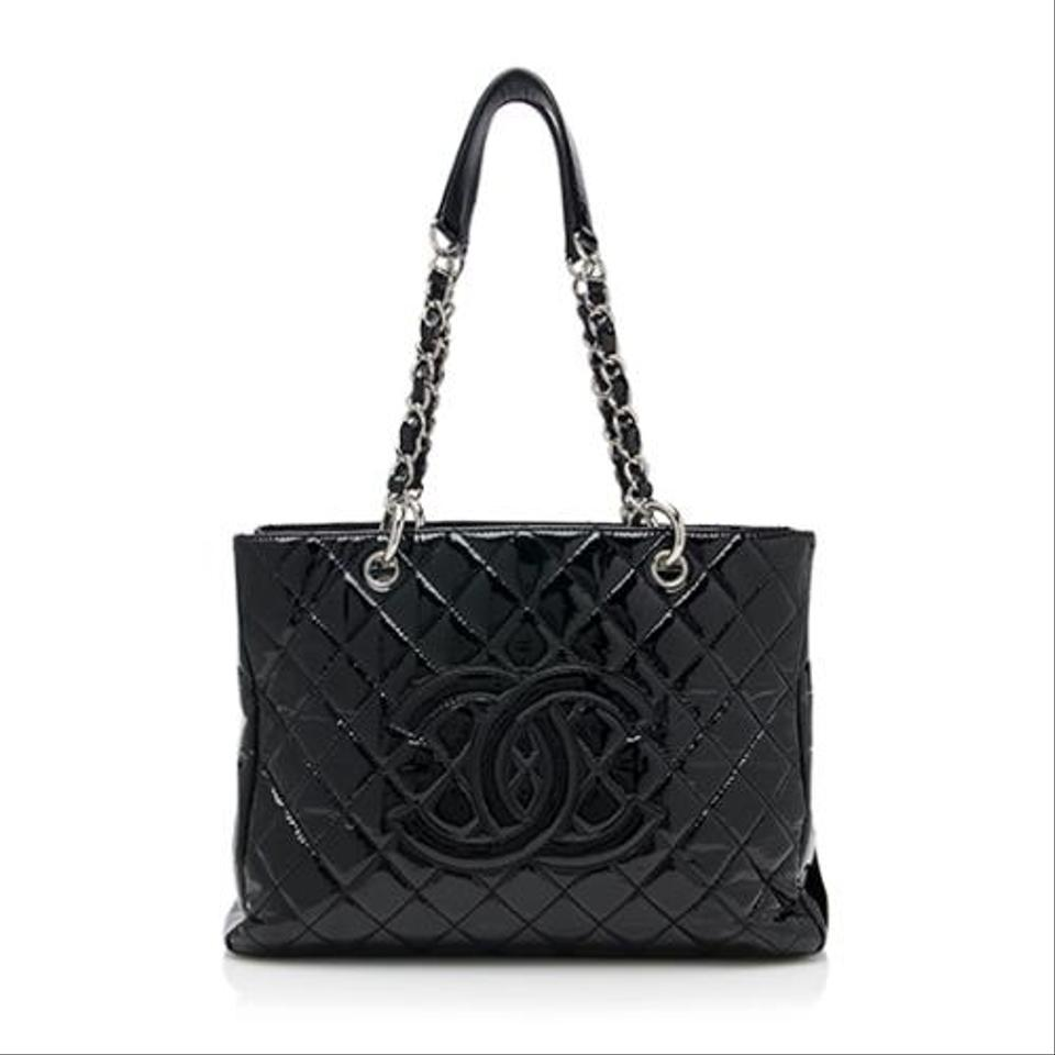 chanel grand shopping gst patent quilted leather shw classic timeless black tote bag on sale 33. Black Bedroom Furniture Sets. Home Design Ideas