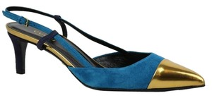 Gucci 353719 Suede Colorblock Blue/Gold Pumps