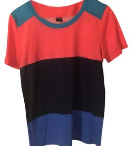Marc by Marc Jacobs T Shirt Coral- Navy- Sea Blue Combo