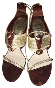 Dior Gold Ankle Ties Leather Designer Sold Out Brown/Gold Sandals