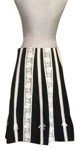 Anthropologie Anthro Odille Size 6 White Skirt Black and Ivory