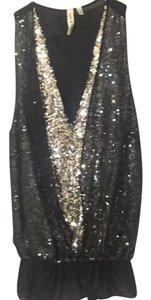 Robbi & Nikki by Robert Rodriguez Top Black- Silver Combo