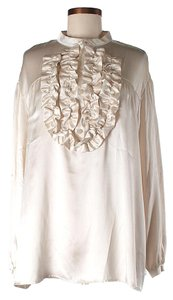 See by Chloé Silk Ruffle Top Beige
