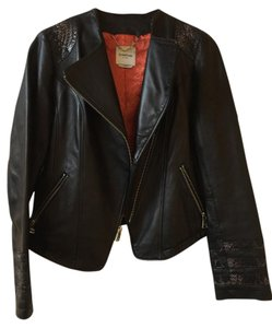 bebe Genuine Leather Moto Brown Leather Jacket