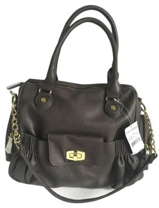 Steve Madden Leather Gold Hardware New Satchel in Mushroom Brown