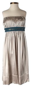 BCBGMAXAZRIA Silk Strapless Empire Waist Embellished Dress
