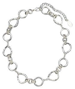 Tahari Silver Large Chain Glam Statement Necklace
