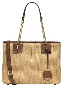 Michael Kors Woven Straw Leather Shoulder Bag