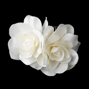 Graceful Ivory Double Flower Wedding Bridal Special Occasion Hair Comb
