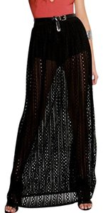 Other Crotchet Lace Embroidered Eyelet Maxi Skirt Black