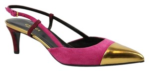 Gucci 353719 Suede Colorblock Pink/Gold Pumps