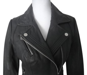 Michael Kors Leather Moto Grey Leather Jacket