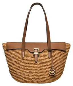 Michael Kors Woven Straw Leather Brown Gold New With Tags Tote in Walnut