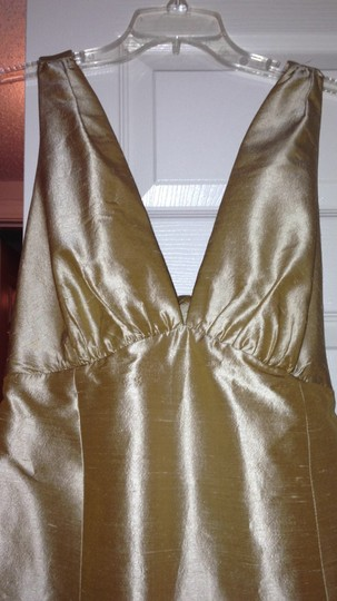 Gold Low Cut Back with Bow Stash Bridesmaid/Mob Dress Size 12 (L)