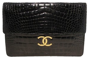Chanel Alligator Rare Classic Alligator Black Clutch