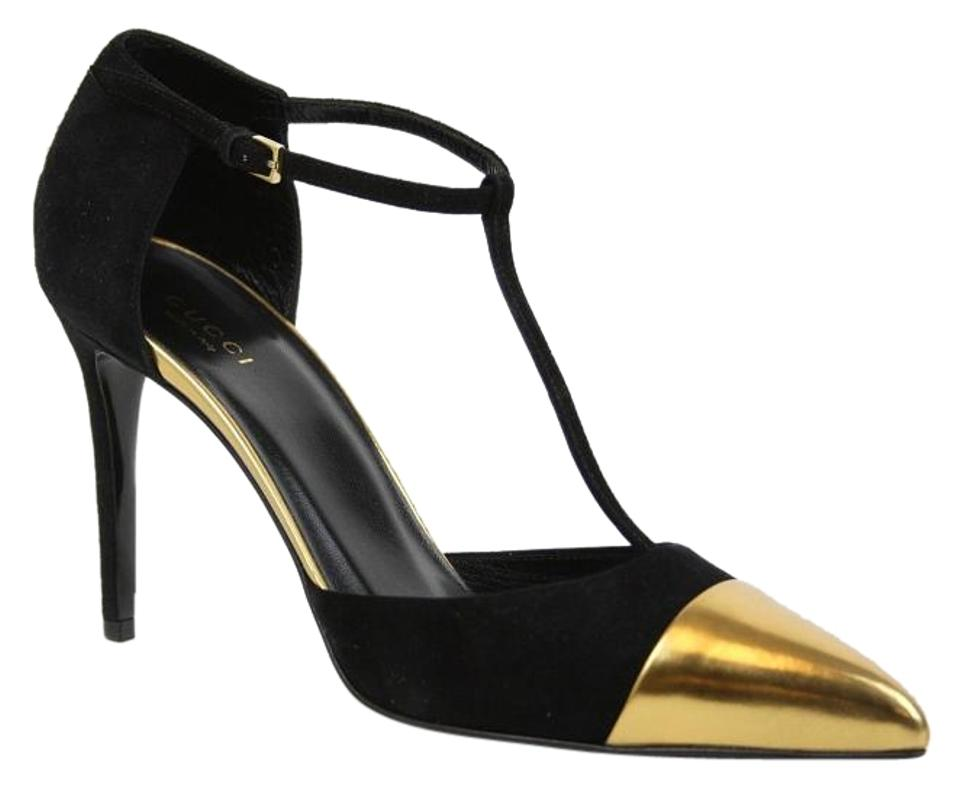 150ac202584 Gucci Black Gold New Suede T-strap Heel   9 356378 8092 Pumps Size ...