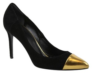 Gucci 356378 Colorblock Cap Toe High Heel Black/Gold Pumps