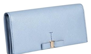Salvatore Ferragamo Sky blue crosshatched leather bow detail wallet