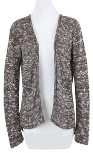 Maurices Brown White Black Copper Metallic Knit Open Front Cardigan B05 Sweater